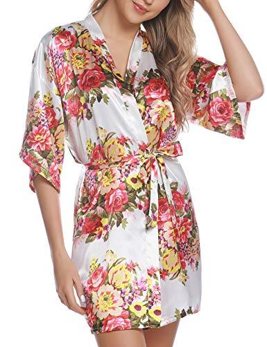Hawiton Kimono japones Mujer Seda,Sexy Vintage Floral Camison Mujer Corta Bata de Novia de casa Albornoces Mujer,Blanco