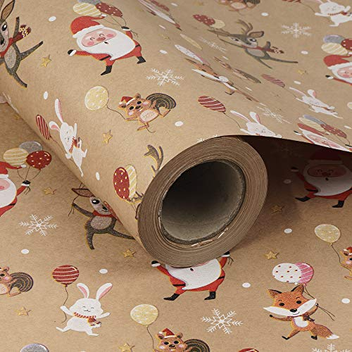 RUSPEPA Christmas Wrapping Paper, Kraft Paper - Dancing Santa Claus and Animals Design - 24 inches x 100 feet, Jumbo Roll
