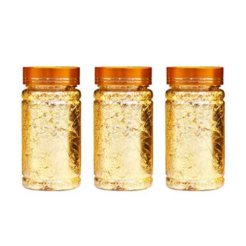 HEALLILY 3 stücke blattgold flocken goldfolie Papier metallic Folie flocken für DIY Handwerk Kunst Nagel Aufkleber vergoldung malerei telefonkasten Kuchen Chocolat Dekoration (golden)