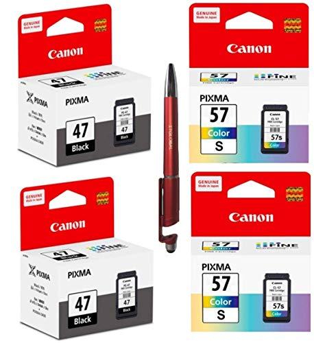 Canon 47 Black Twin & 57 Small Colour Twin Ink Cartridge Combo Bundle With ITGLOBAL (TM) 3 in 1 multi-function anti-metal texture rotating ballpoint pen , Creative mobile phone stand , Stylus pen (Very Colors)