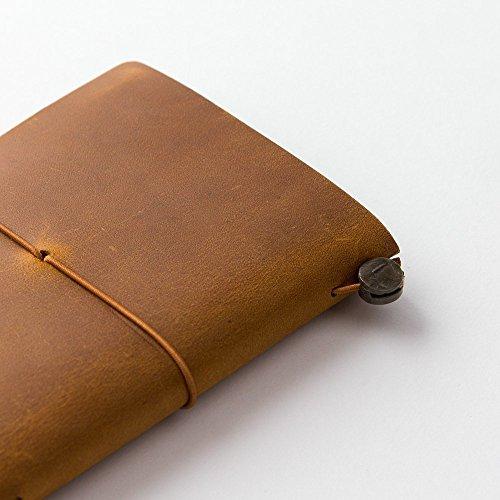 Midori Traveler's Notebook Leather Bundle Set , Passport Size Camel , Refill Connection Rubber Band 011 , Clear Zipper Case 004 Photo #7