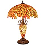 Tiffany Style Table Lamp W16H24 Inch Red Stained Glass Wisteria Lampshade Antique Night Lighting Base S523R WERFACTORY Lamps Lover Living Room Bedroom Office Study Reading Desk Nightstand Art Gifts