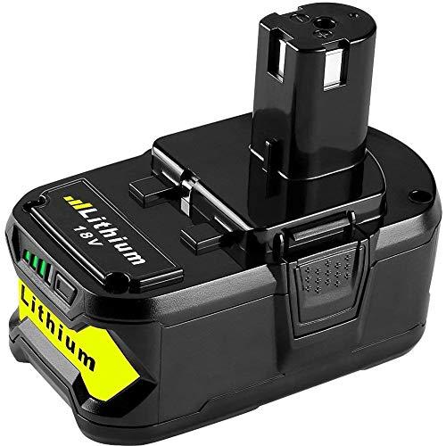 HOMEDAS Batería de repuesto para Ryobi de 18 V y 5,5 Ah, P108 V, ONE + RB18L50 RB18L25 RB18L15 RB18L13 P102 P103 P104 con indicador LED
