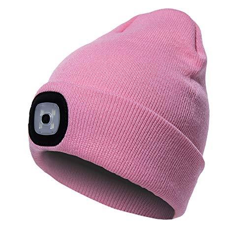 PRAVETTE Strickmütze mit Licht, Unisex-Winterwärmer-Strickkappe, USB Nachladbare LED Mütze Hut, Hands Free Scheinwerfer Cap -Abnehmbar Waschbar und dimmbar für Jogging, Camping, Grillen - Rosa