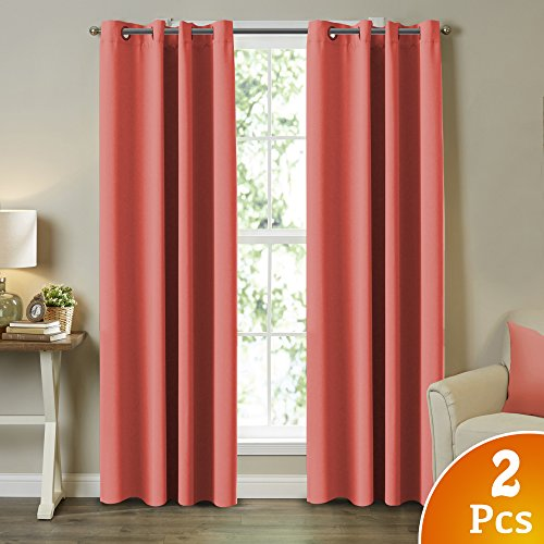 "Blackout Curtains and Drapes - Triple Weave Energy Saving Solid Coral Curtains For Girls Room Thermal Insulated Gromment Curtain Panels, Coral Drapes for Kids Room, Coral, 2 Panel, 52"" W x 84"" L"