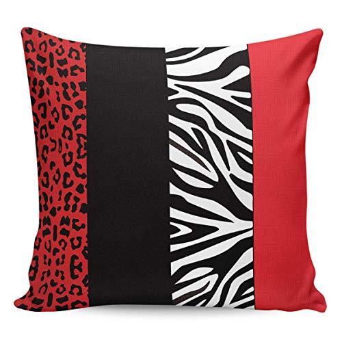 phjyjyeu Fundas de cojín cuadradas de algodón y lino con estampado de leopardo rojo y cebra, para cojín cuadrado de 50,8 x 50,8 cm, color rojo, 45,7 x 45,7 cm