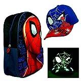 hi-lo Spider-Man Kindergarten Rucksack und Kinder-Mütze, Premium Kinderrucksack und Basecap Blau Größe 52 Set Jungs