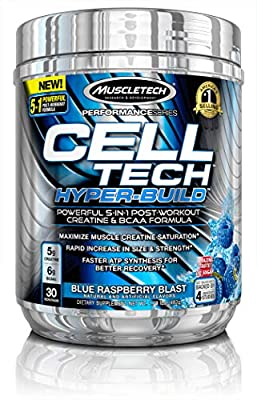 MuscleTech Cell Tech Hyperbuild Post Workout Recovery Drink Powder with Creatine and BCAA Aminos