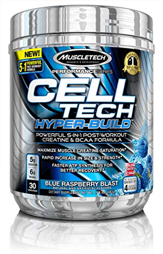 MuscleTech Cell Tech Hyperbuild Post Workout Recovery Drink Powder with Creatine and BCAA Aminos, Blue Raspberry Blast, 30 Servings (482g)