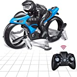 MPUOYHK Remote Control Flying Motorcycle, Flying Motorcycle RC Drone, Can Rotate 360° Degrees Drift Electric Children Flying Motorcycle, Land Air Fly Children 2 in 1 Mini Stunt Motorbike Toys