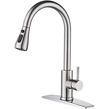 FORIOUS Kitchen Faucet with Pull Down Sprayer Brushed Nickel, High Arc Single Handle Kitchen Sink Faucet with Deck Plate, Commercial Modern rv Stainless Steel Kitchen Faucets, Grifos De Cocina