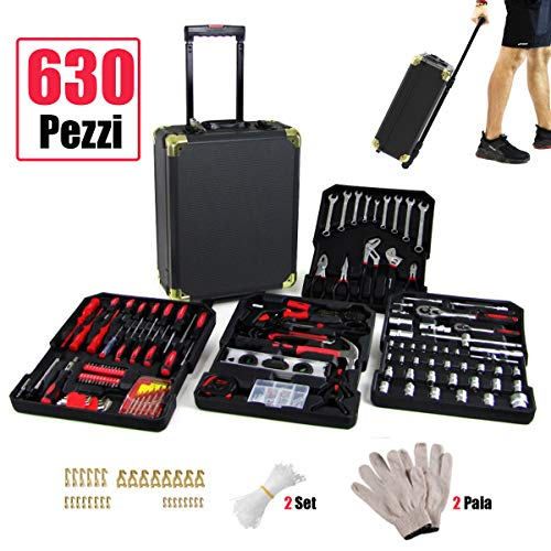 Trolley Set 630 Attrezzi Cassetta Lavoro Valigetta Alluminio Kit Chiavi Hobby Barca Camper Utensili Professionale