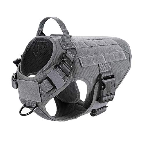 ICEFANG Tactical Dog Harness,K9 Working Dog Vest,No Pulling Front Clip Leash Attachment (M (25″-30″ Girth), Wolf Gray-2x Metal Buckle)