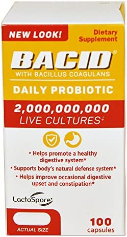 Bacid Daily Probiotic with Bacillus Coagulans for Digestive Health 100 Capsules product image