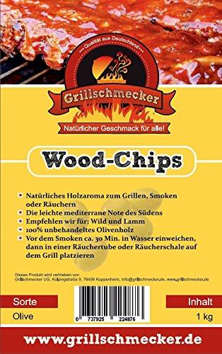 Grillschmecker Wood Chips - Natürliches Holzaroma zum Grillen, Smoken & Räuchern - 1 kg Olivenholz