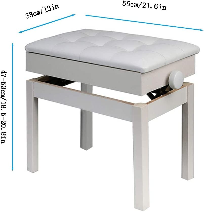 Keyboard Bench with Storage Compartment Single Sitting Soft PU Leather Padded Seat Grandma Shark Piano Stool Dressing Table Stools
