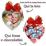 Cuore personalizzato con foto cioccolatini a scelta frase Idea Regalo per la...