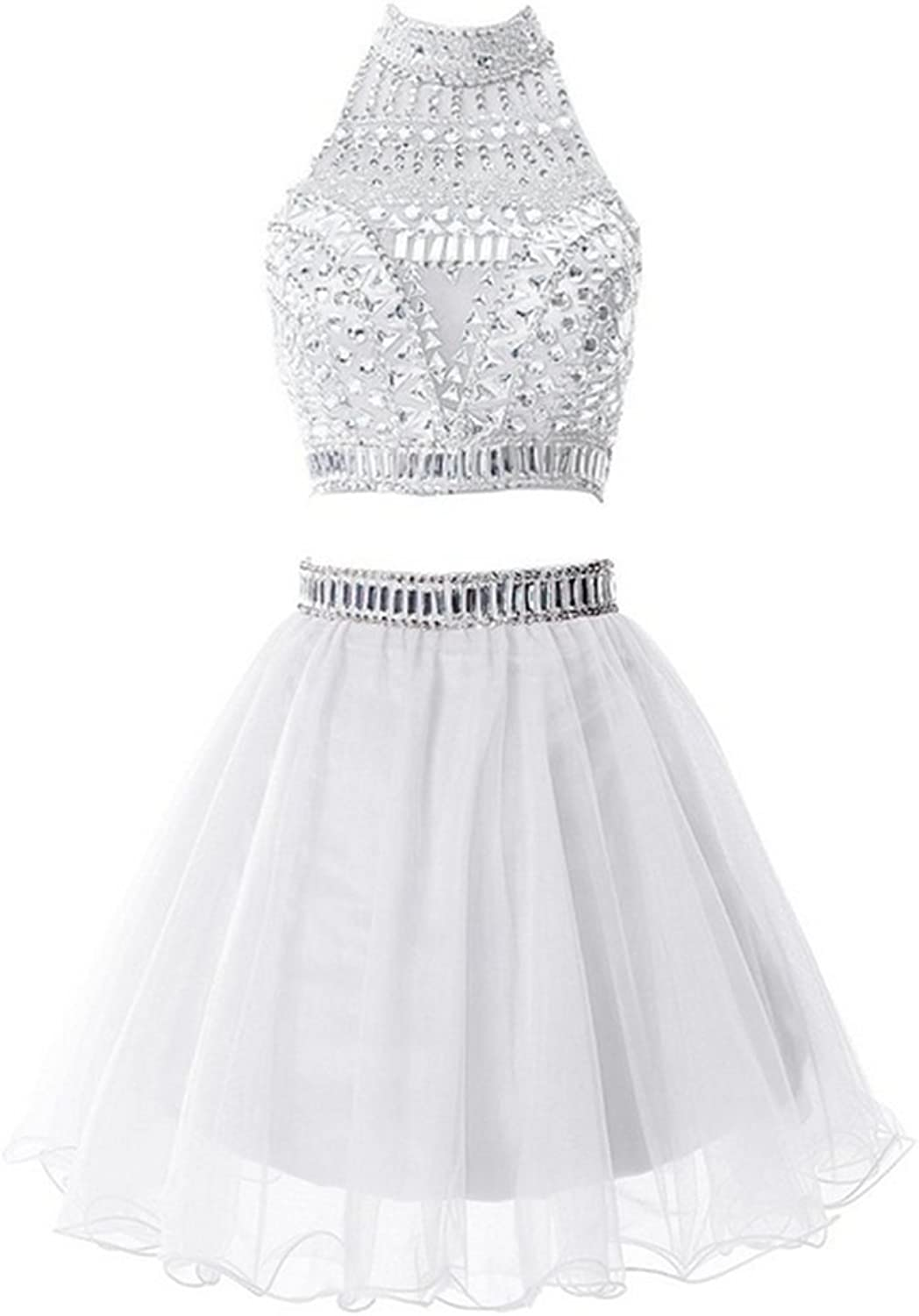 Emmani Women's Short Two Pieces Homecoming Dress Prom Dresses with Rhinestones