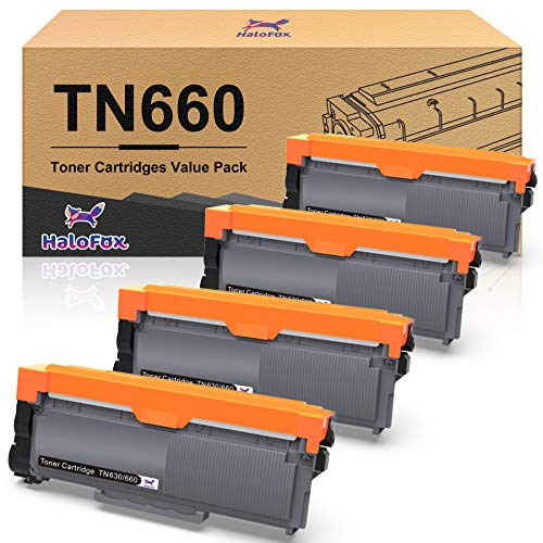 HaloFox Compatible Toner Cartridge Replacement for Brother TN660 TN630 DCP-2560DN MFC-L2707DW MFC-L2700DW HL-L2380DW DCP-L2540DW HL2340DW MFC-L2740DW MFC-L2685DW HL-L2300D (Black, 4-Pack)