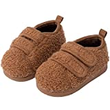 EQUICK Toddler Slippers Comfort Boys Girls House Slippers Kids Light Weight Anti-Skid Shoes with Adjustable Hook and Loop U2VHTTMT4-Brown-16