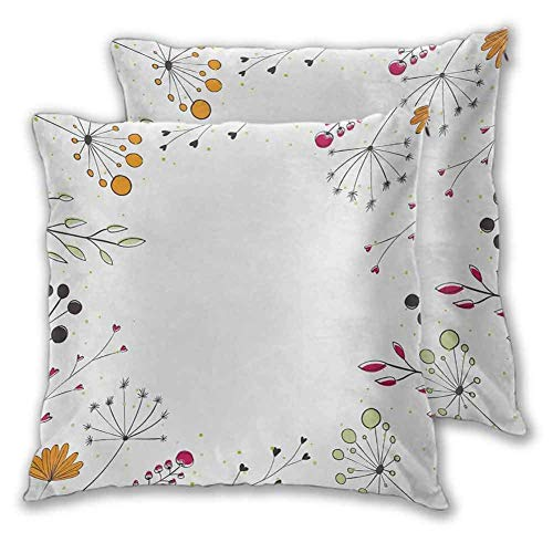 N\A Fundas de Almohada Modernas Ramas Florales con Flores geométricas Impresión de Arte de la Naturaleza para sofá 2 Piezas Blanco Magenta Ámbar Verde Pistacho