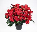 Großer Weihnachtsstern im Topf 38cm rot PF künstliche Poinsettie Blume Pflanze Kunstblumen Kunstblumen