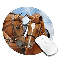 Mouse pad 馬柄 アニマル 円型マウスパッド パソコン テーブルクロス 周辺機器 かわいい柄 滑り止め 防水 おしゃれ オフィス用 ゲーム用