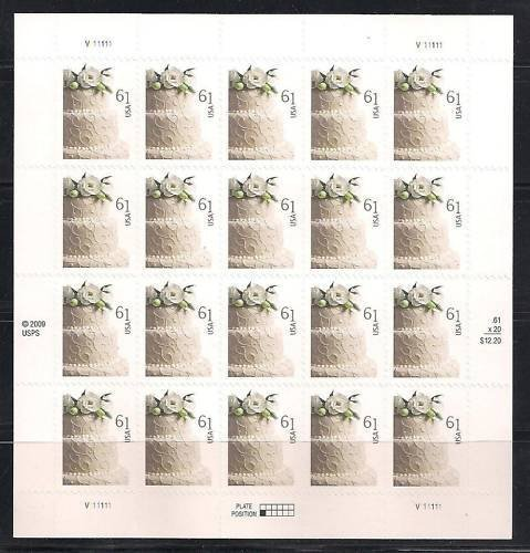 Wedding Cake Sheet of Twenty 61 Cent Stamps Scott 4398 by USPS