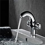 YSRBath Moderne Badzimmer Waschbecken Waschtischarmatur Messing Thermostat Kaltes und Warmes Wasser mit Doppelgriff Mischbatterie Bad Küchenspüle Armaturen Wasserhahn