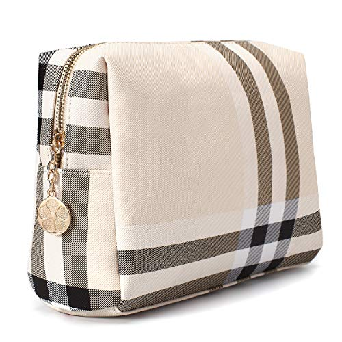 Luxury Makeup Bag for Purse Large Women Cosmetic Bags for Toiletry Travel (Beige 4)