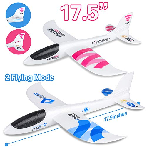 BooTaa 2 Pack Airplane Toys, 17.5' Large Throwing Plane, Outdoor Sport Toy, Foam Glider Aeroplane for 3 4 5 6 7 8 Year Old boy Toddlers, Kids Flying Game Toy, Styrofoam Airplanes, Gift for Kids