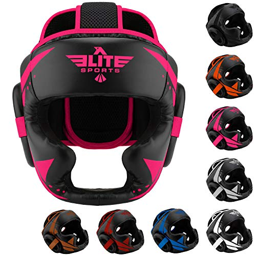 Elite Sports Boxing MMA Sparring Kickboxing Headgear for Men, Muay Thai Boxing Head Guard Helmet for Head Protection (Pink/Black)