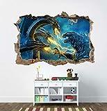 DCJ etiqueta de la pared Godzilla 3D Smashed Wall Decal Gráfico Etiqueta de la pared Decoración para el hogar Arte Mural