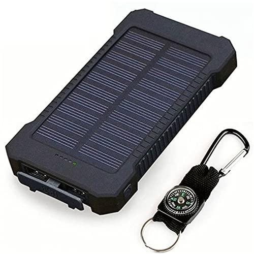 WFEI Cargador Solar 20000Mah, Banco De Energía Solar Paquete De Baterías Portátiles Dual USB Salidas De USB, Impermeable con Luz De Camping para Acampar Al Aire Libre,Negro