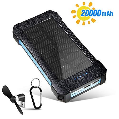 20000mAh Solar Ladegerät Mit USB-Lüfter Solar Powerbank Externer Akku Wasserdicht mit Dual Input Ports and 3 USB Ausgängen Tragbare für Android/IOS Phone und Smartphones/Handys, Outdoor Aktivitäten