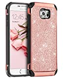 Galaxy S6 Case, BENTOBEN 2 in 1 Luxury Glitter Bling Hybrid Slim Hard PC Cover with Sparkly Shiny Faux Leather Chrome Shockproof Protective Case for Samsung Galaxy S6 G920, Rose Gold