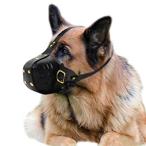 PET ARTIST Bozal de piel para perros medianos y grandes, antimordeduras, ajustable, para canasta Pitbull, pastor alemán, Larbrador, Bulldog, negro
