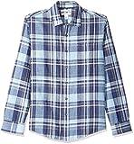 Amazon Essentials - Camisa de lino con manga larga, corte entallado y estampado para hombre, Azul marino a cuadros, US S (EU S)