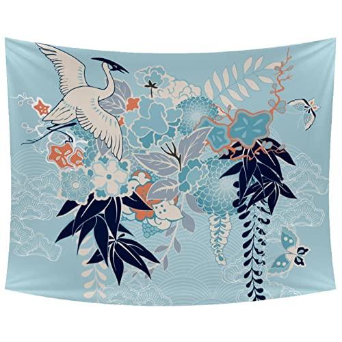 Tapiz para colgar en la pared, diseño de kimono japonés, color azul, para dormitorio, decoración del hogar, dormitorio universitario, funda de sofá, manta de picnic de 203 x 142 cm