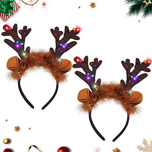 2pcs Geweih Haarreif mit LED-Beleuchtung,Weihnachten Stirnbänder,Kopfschmuck,Weihnachtsgeweih,Haarschmuck,Stirnbänder Partyhüte,Weihnachtsschmuck für Kinder und Damen