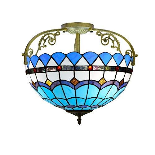 Blivuself Tiffany La mitad de 16 pulgadas luz de techo Tiffany lámpara de techo Galss simple patrón de estilo mediterráneo azul for estar Corredor Sala Dormitorio