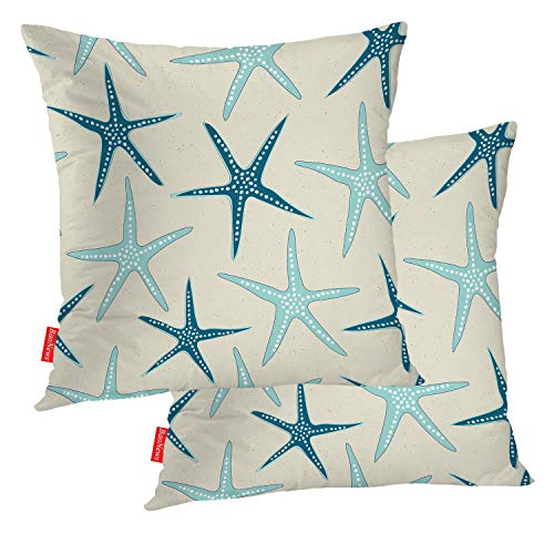 BaoNews Coastal Nautical Decorative Pillow Covers, Sea Star Seamless Beach Pattern in Turquoise Sand Pillow Covers 18X18 Inch Cotton Square Cushion Decorative Pillow Case for Sofa Bed