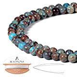 BEADNOVA Crazy Blue Lace Agate Beads Natural Crystal Beads Stone Gemstone Round Loose Energy Healing Beads with Free Crystal Stretch Cord for Jewelry Making (4mm, 94-96pcs)