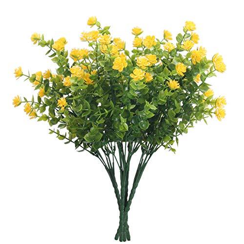DWANCE 4 Pcs Plantas Artificiales Flores Falsas Artificiales Falsa Ramas de Eucalipto Plantas Artificiales Exterior para Jardín de Casa Oficina Terraza Decoración de Boda de Vacaciones