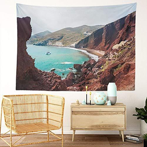 Y·JIANG Tapiz paisajista de Grecia, vista de la costa y playa roja, isla Santorini, tapiz decorativo grande, tapiz decorativo de pared, para sala de estar, dormitorio, 152,4 x 127 cm