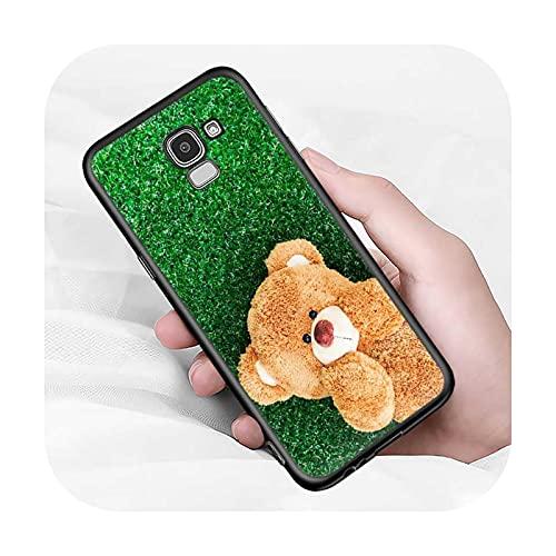 Lindo oso animal para Samsung Galaxy J2 J3 J4 Core J5 J6 J7 J8 Prime duo Plus 2018 2017 2016 suave negro cubierta del teléfono estilo 12-para J7 Duo