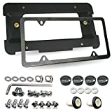 ZXFOOG Rear License Plate Holder Bracket For BMW Series & Mini Cooper- Bumper Trunk Mount Tag Adapter with Carbon Fiber Frame, Replace Car Accessories 51187160607 511882380615, Screws Caps Insert Nuts
