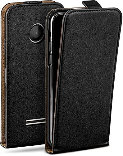 moex Flip Hülle für Microsoft Lumia 435 Hülle klappbar, 360 Grad R&um Komplett-Schutz, Klapphülle aus Vegan Leder, Handytasche mit vertikaler Klappe, magnetisch - Schwarz