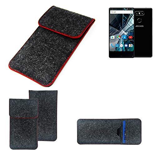 K-S-Trade Handy Schutz Hülle Für Archos Sense 55 S Schutzhülle Handyhülle Filztasche Pouch Tasche Hülle Sleeve Filzhülle Dunkelgrau Roter Rand