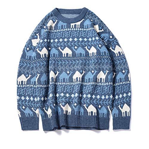 Hey shop Pullover mit Rundhalsausschnitt, dick, lockerer Strickpullover für Herren Gr. L, blau